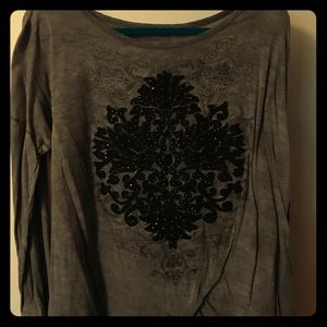 Maurice long sleeve tee grey black filigree 0